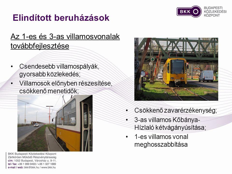 Elindított beruházások •Csendesebb villamospályák, gyorsabb közlekedés; •Villamosok előnyben részesítése, csökkenő menetidők; Az 1-es és 3-as villamosvonalak továbbfejlesztése •Csökkenő zavarérzékenység; •3-as villamos Kőbánya- Hízlaló kétvágányúsítása; •1-es villamos vonal meghosszabbítása