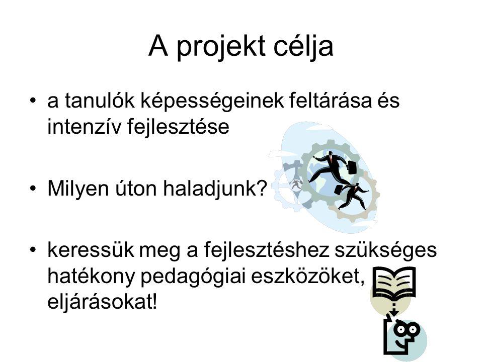 A projekt célja •a tanulók képességeinek feltárása és intenzív fejlesztése •Milyen úton haladjunk.