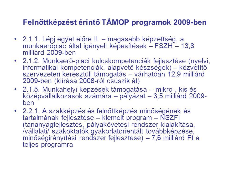 Felnőttképzést érintő TÁMOP programok 2009-ben •2.1.1. Lépj egyet előre II. – magasabb képzettség, a munkaerőpiac által igényelt képesítések – FSZH –