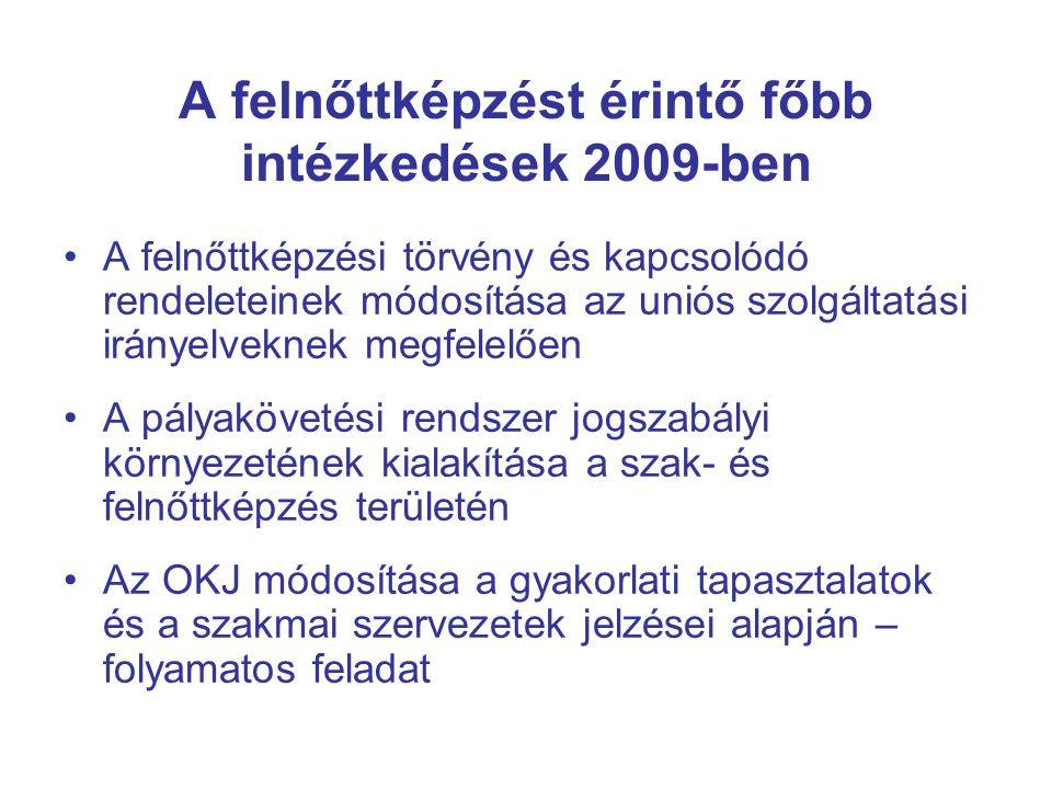 A felnőttképzést érintő főbb intézkedések 2009-ben •A felnőttképzési törvény és kapcsolódó rendeleteinek módosítása az uniós szolgáltatási irányelveknek megfelelően •A pályakövetési rendszer jogszabályi környezetének kialakítása a szak- és felnőttképzés területén •Az OKJ módosítása a gyakorlati tapasztalatok és a szakmai szervezetek jelzései alapján – folyamatos feladat