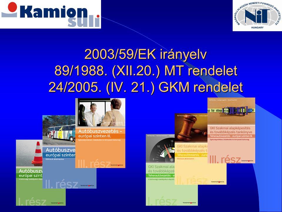 2003/59/EK irányelv 89/1988. (XII.20.) MT rendelet 24/2005. (IV. 21.) GKM rendelet