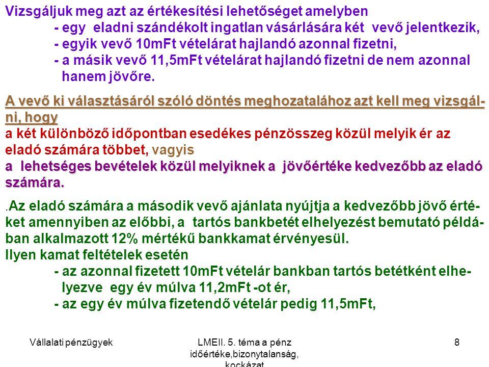 Vállalati pénzügyekLMEII.5.