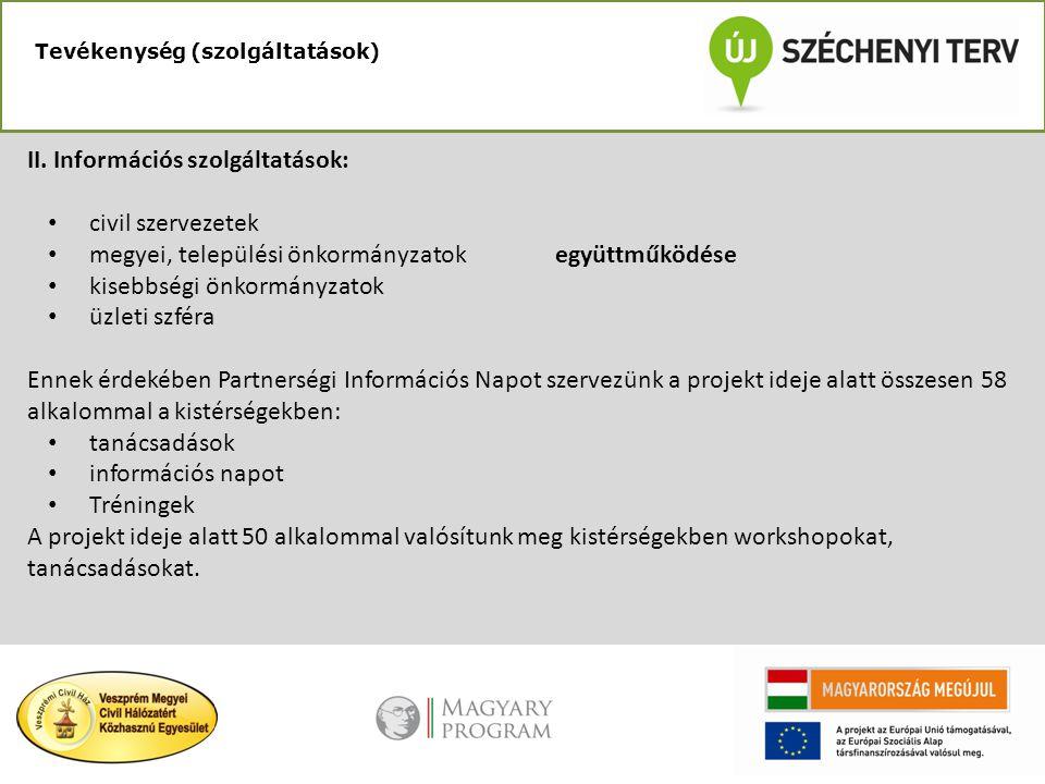 Tevékenység (szolgáltatások) II. Információs szolgáltatások: • civil szervezetek • megyei, települési önkormányzatok együttműködése • kisebbségi önkor