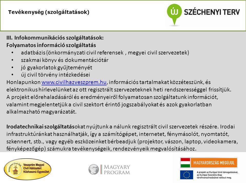 Tevékenység (szolgáltatások) III. Infokommunikációs szolgáltatások: Folyamatos információ szolgáltatás • adatbázis (önkormányzati civil referensek, me
