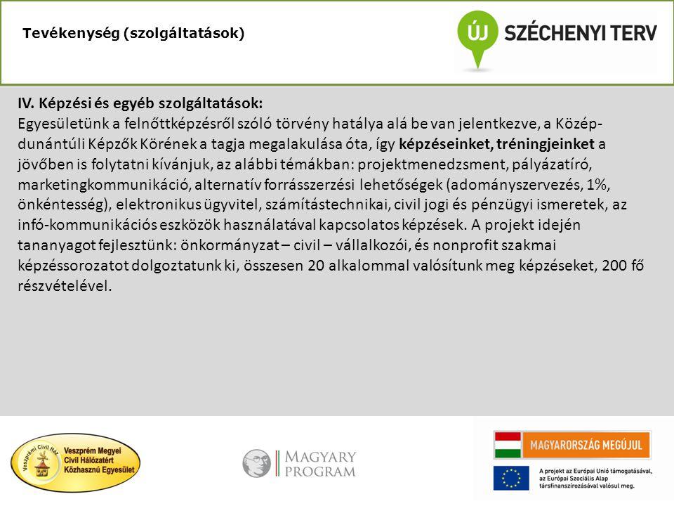 Tevékenység (szolgáltatások) IV. Képzési és egyéb szolgáltatások: Egyesületünk a felnőttképzésről szóló törvény hatálya alá be van jelentkezve, a Közé