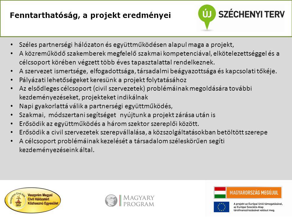 Fenntarthatóság, a projekt eredményei • Széles partnerségi hálózaton és együttműködésen alapul maga a projekt, • A közreműködő szakemberek megfelelő s