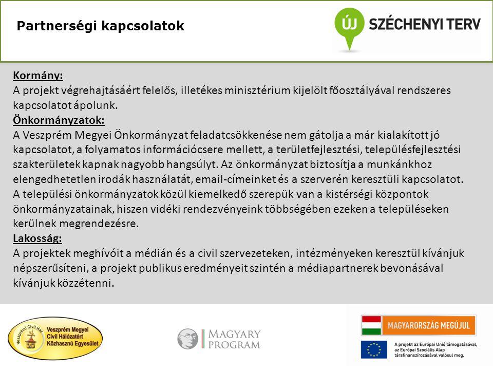 Partnerségi kapcsolatok Kormány: A projekt végrehajtásáért felelős, illetékes minisztérium kijelölt főosztályával rendszeres kapcsolatot ápolunk. Önko