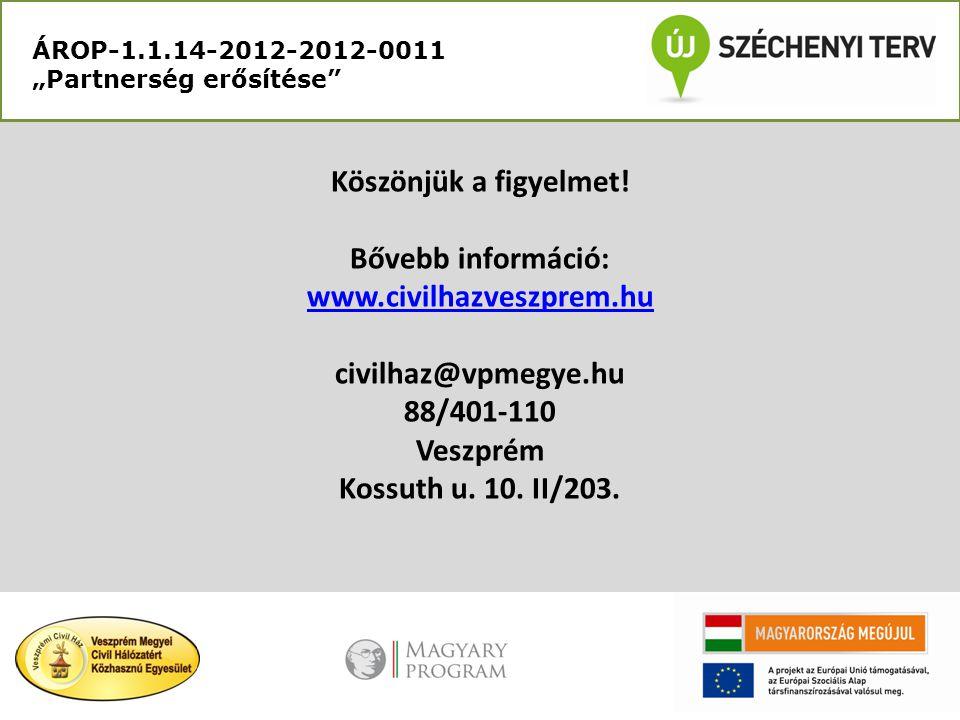 """ÁROP-1.1.14-2012-2012-0011 """"Partnerség erősítése"""" Köszönjük a figyelmet! Bővebb információ: www.civilhazveszprem.hu civilhaz@vpmegye.hu 88/401-110 Ves"""