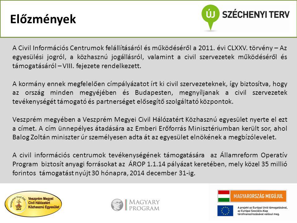 Előzmények A Civil Információs Centrumok felállításáról és működéséről a 2011. évi CLXXV. törvény – Az egyesülési jogról, a közhasznú jogállásról, val