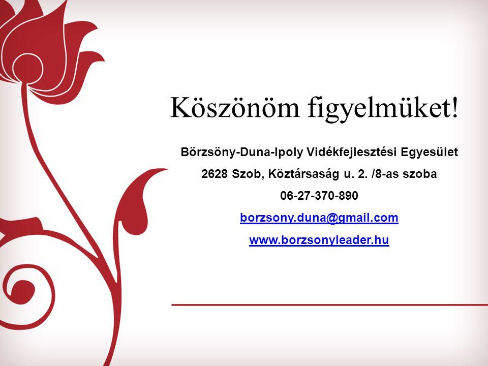 Köszönöm figyelmüket. Börzsöny-Duna-Ipoly Vidékfejlesztési Egyesület 2628 Szob, Köztársaság u.