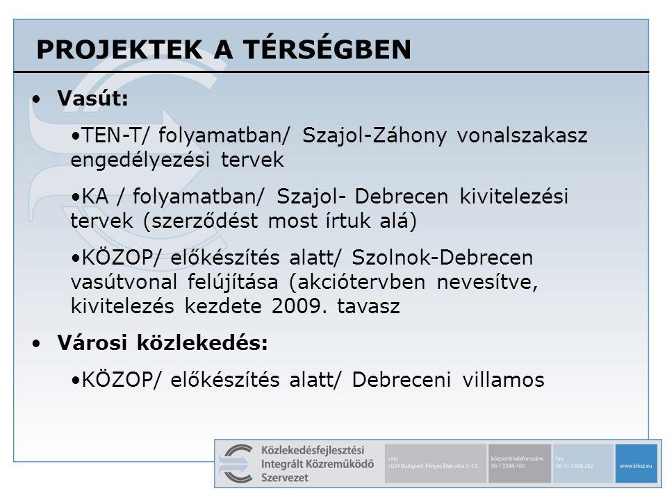 PROJEKTEK A TÉRSÉGBEN •Vasút: •TEN-T/ folyamatban/ Szajol-Záhony vonalszakasz engedélyezési tervek •KA / folyamatban/ Szajol- Debrecen kivitelezési te