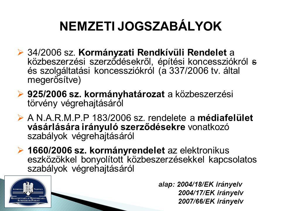NEMZETI JOGSZABÁLYOK  34/2006 sz.
