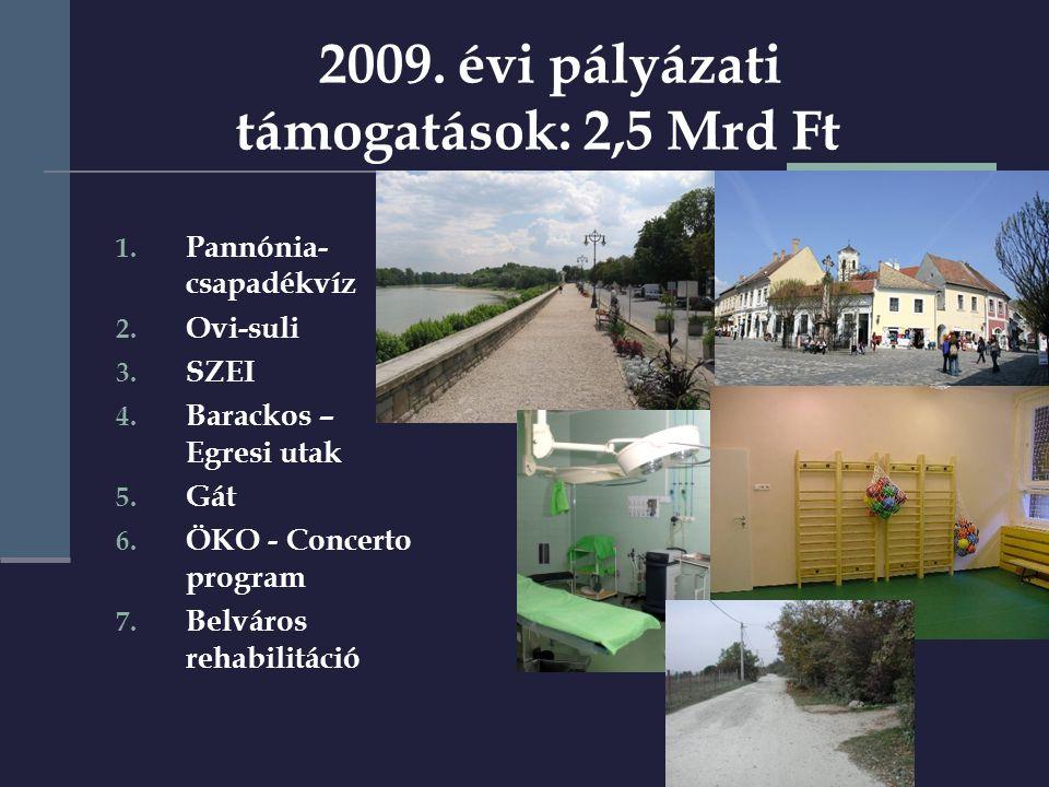 2009. évi pályázati támogatások: 2,5 Mrd Ft 1. Pannónia- csapadékvíz 2.