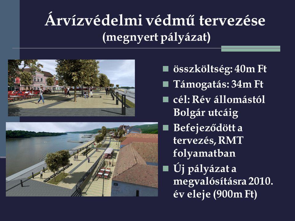 Árvízvédelmi védmű tervezése (megnyert pályázat )  összköltség: 40m Ft  Támogatás: 34m Ft  cél: Rév állomástól Bolgár utcáig  Befejeződött a tervezés, RMT folyamatban  Új pályázat a megvalósításra 2010.