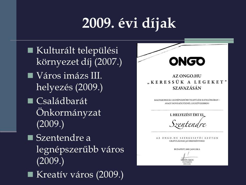 2009. évi díjak  Kulturált települési környezet díj (2007.)  Város imázs III.