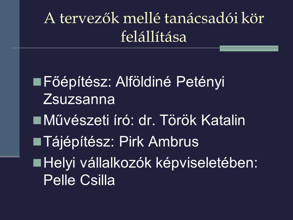 A tervezők mellé tanácsadói kör felállítása  Főépítész: Alföldiné Petényi Zsuzsanna  Művészeti író: dr.