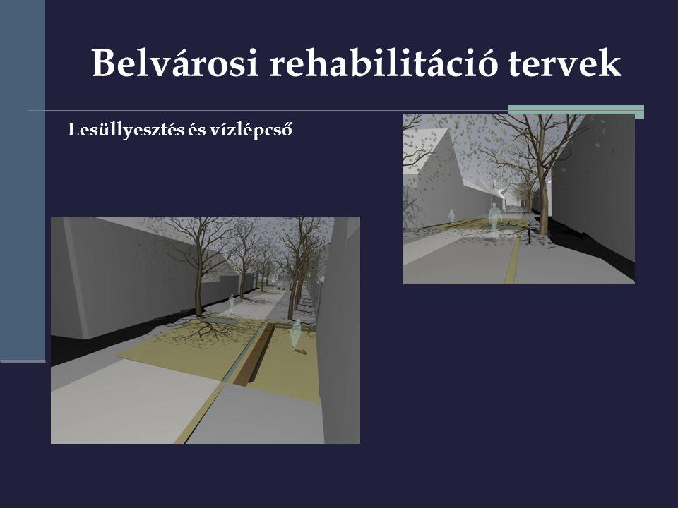 Lesüllyesztés és vízlépcső Belvárosi rehabilitáció tervek
