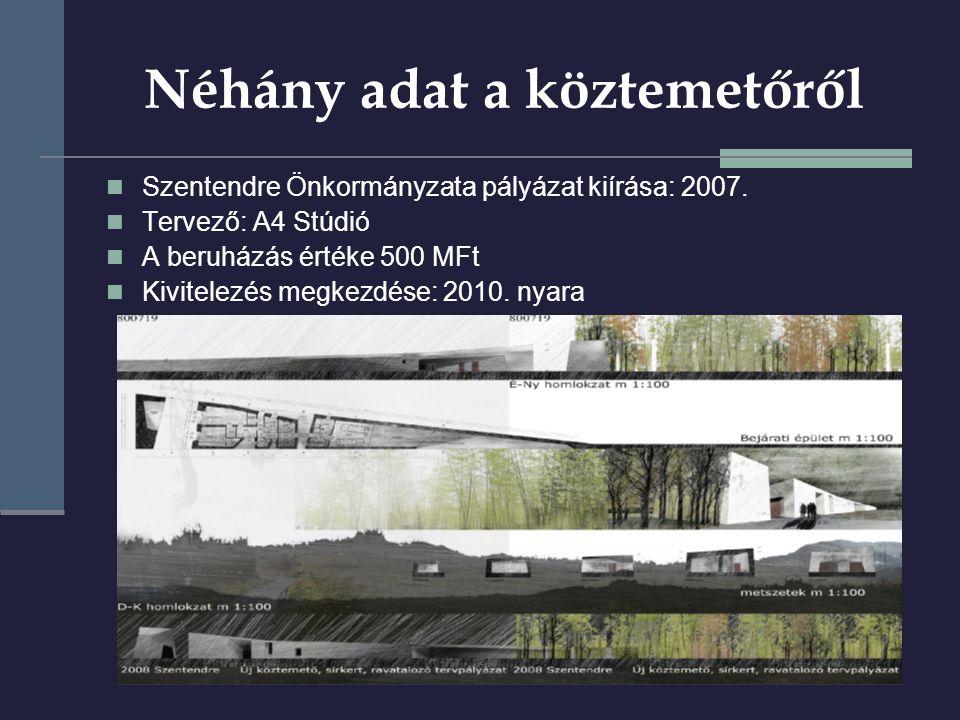Néhány adat a köztemetőről  Szentendre Önkormányzata pályázat kiírása: 2007.