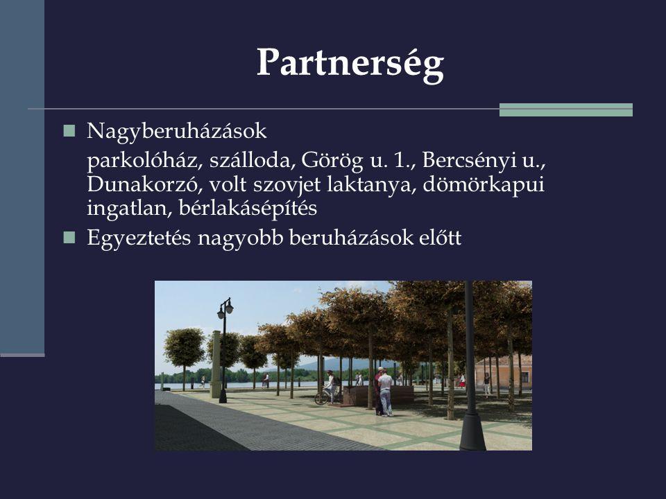 Partnerség  Nagyberuházások parkolóház, szálloda, Görög u.