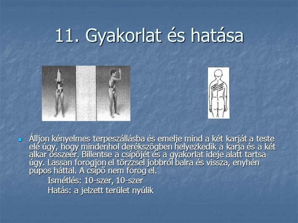 11. Gyakorlat és hatása  Álljon kényelmes terpeszállásba és emelje mind a két karját a teste elé úgy, hogy mindenhol derékszögben helyezkedik a karja