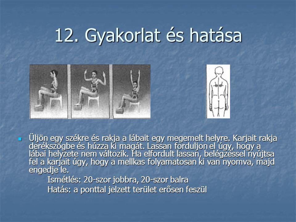 12. Gyakorlat és hatása  Üljön egy székre és rakja a lábait egy megemelt helyre. Karjait rakja derékszögbe és húzza ki magát. Lassan forduljon el úgy