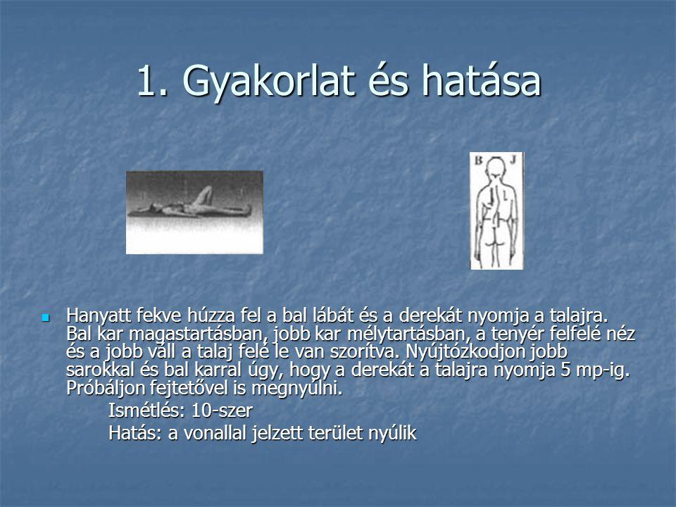 1. Gyakorlat és hatása  Hanyatt fekve húzza fel a bal lábát és a derekát nyomja a talajra. Bal kar magastartásban, jobb kar mélytartásban, a tenyér f