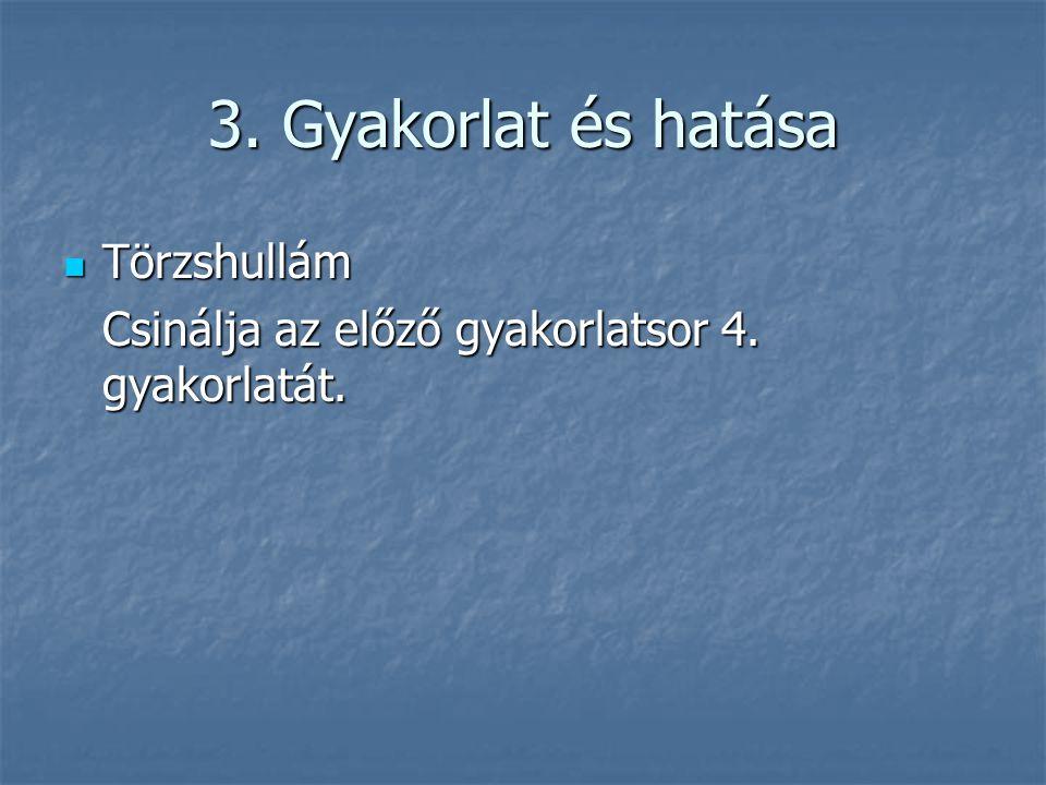 3. Gyakorlat és hatása  Törzshullám Csinálja az előző gyakorlatsor 4. gyakorlatát.