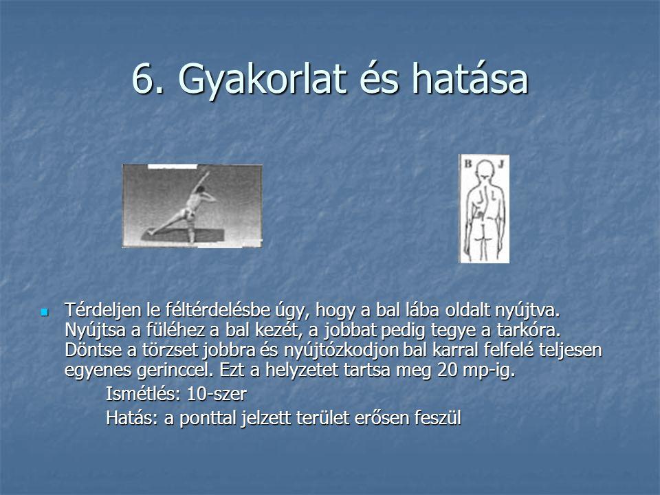 6. Gyakorlat és hatása  Térdeljen le féltérdelésbe úgy, hogy a bal lába oldalt nyújtva. Nyújtsa a füléhez a bal kezét, a jobbat pedig tegye a tarkóra