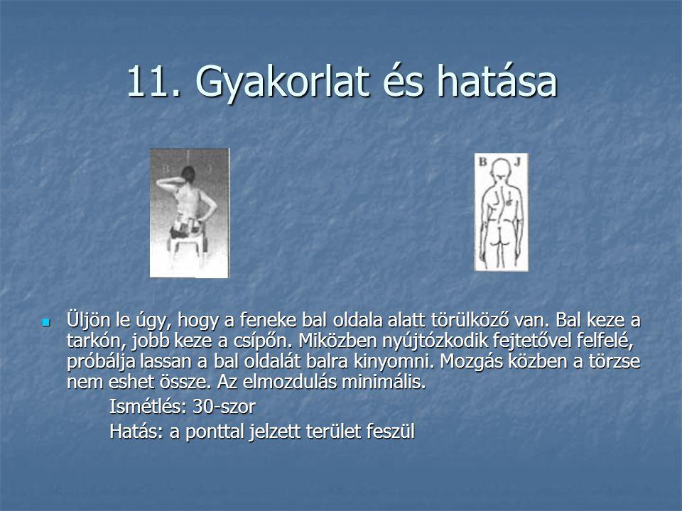 11. Gyakorlat és hatása  Üljön le úgy, hogy a feneke bal oldala alatt törülköző van. Bal keze a tarkón, jobb keze a csípőn. Miközben nyújtózkodik fej
