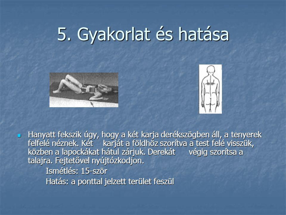 5. Gyakorlat és hatása  Hanyatt fekszik úgy, hogy a két karja derékszögben áll, a tenyerek felfelé néznek. Két karját a földhöz szorítva a test felé