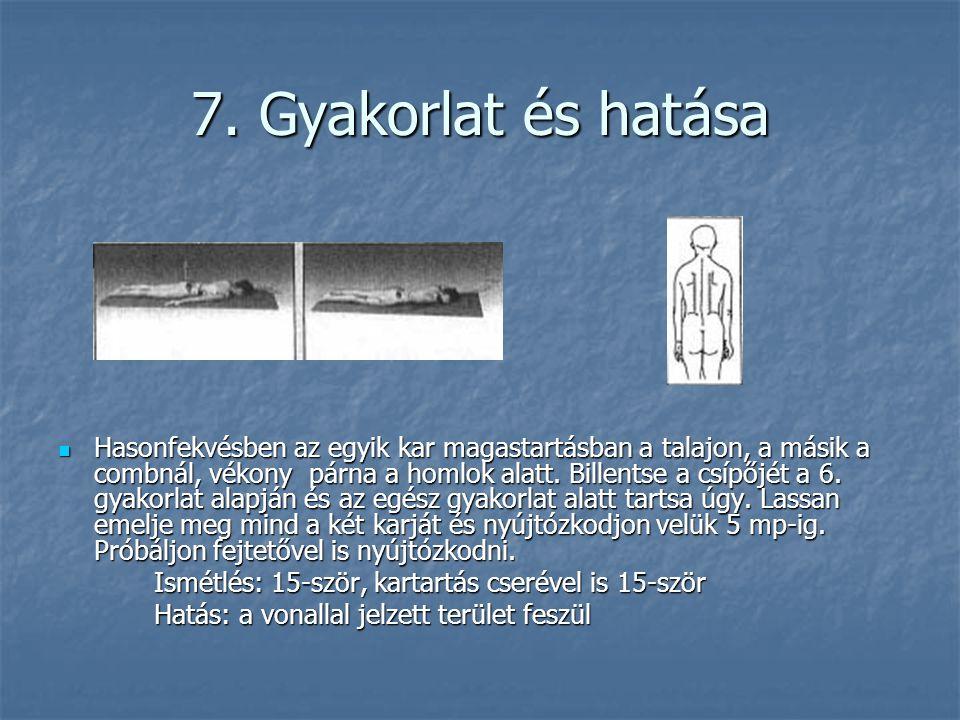 7. Gyakorlat és hatása  Hasonfekvésben az egyik kar magastartásban a talajon, a másik a combnál, vékony párna a homlok alatt. Billentse a csípőjét a