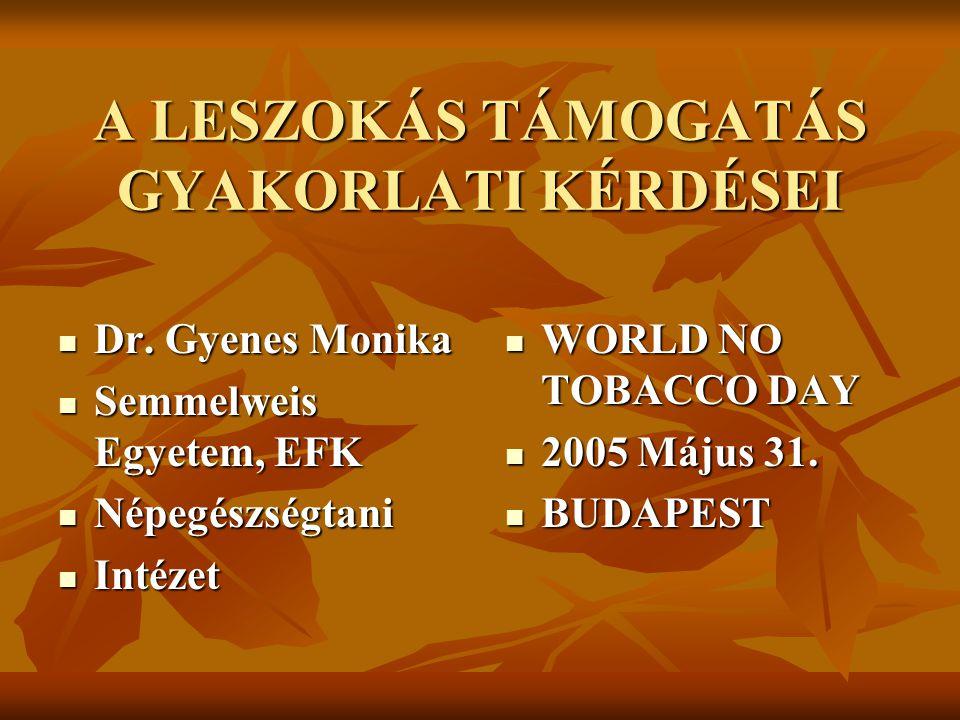 A LESZOKÁS TÁMOGATÁS GYAKORLATI KÉRDÉSEI  Dr. Gyenes Monika  Semmelweis Egyetem, EFK  Népegészségtani  Intézet  WORLD NO TOBACCO DAY  2005 Május