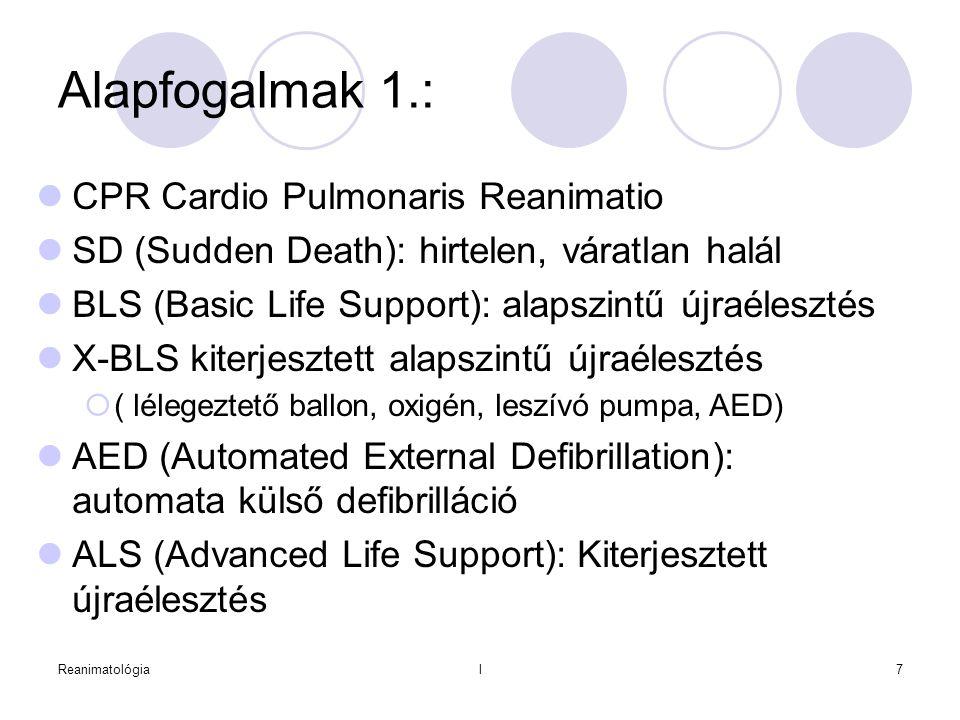 Reanimatológial7 Alapfogalmak 1.:  CPR Cardio Pulmonaris Reanimatio  SD (Sudden Death): hirtelen, váratlan halál  BLS (Basic Life Support): alapszi