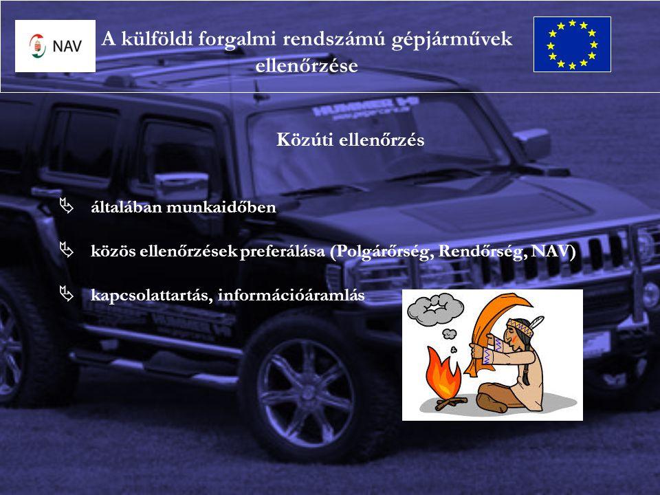 Közúti ellenőrzés  általában munkaidőben  közös ellenőrzések preferálása (Polgárőrség, Rendőrség, NAV)  kapcsolattartás, információáramlás