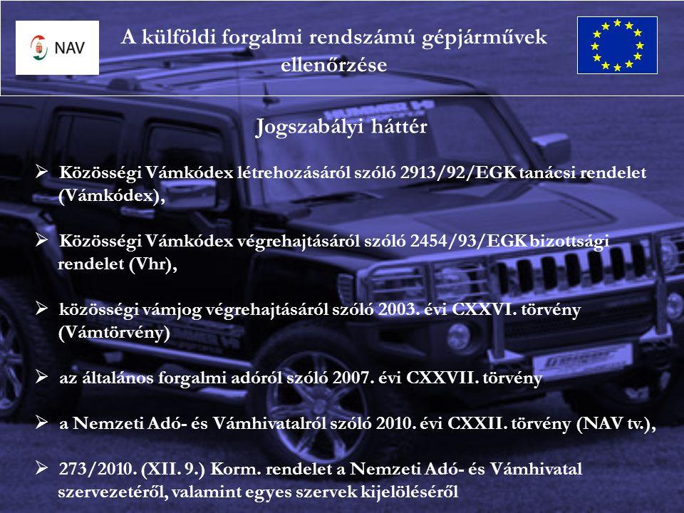 A külföldi forgalmi rendszámú gépjárművek ellenőrzése Jogszabályi háttér  Közösségi Vámkódex létrehozásáról szóló 2913/92/EGK tanácsi rendelet (Vámkódex),  Közösségi Vámkódex végrehajtásáról szóló 2454/93/EGK bizottsági rendelet (Vhr),  közösségi vámjog végrehajtásáról szóló 2003.