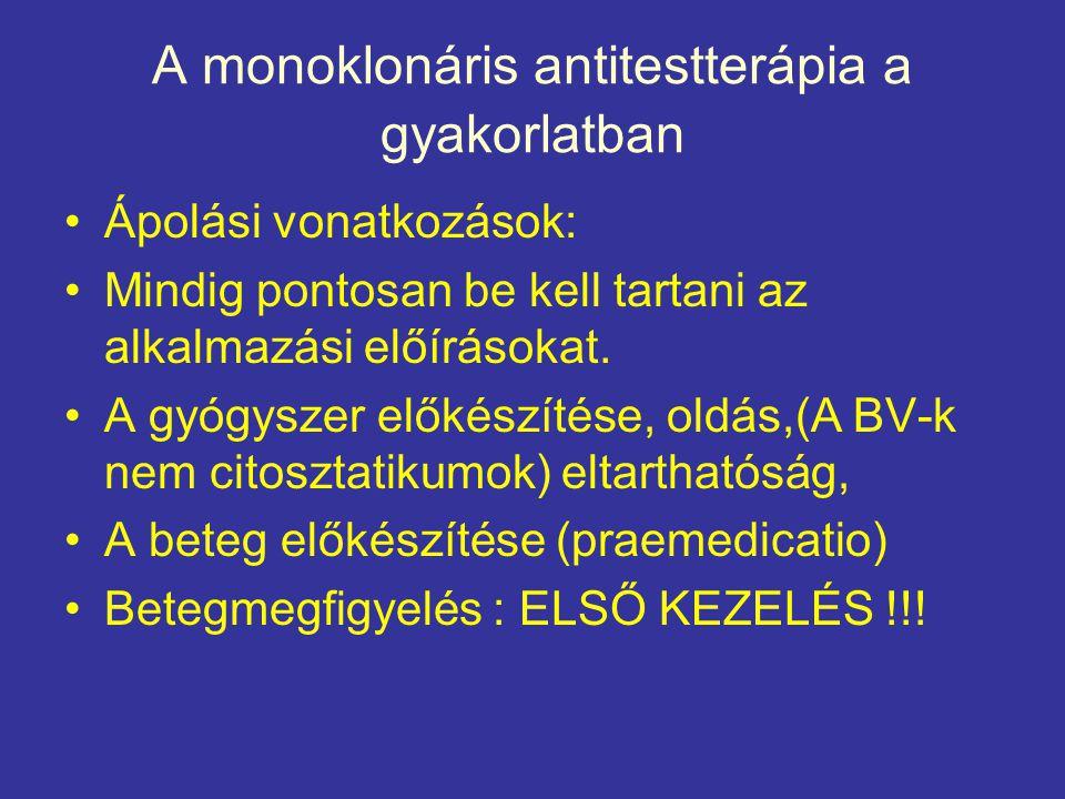 A monoklonáris antitestterápia a gyakorlatban •Ápolási vonatkozások: •Mindig pontosan be kell tartani az alkalmazási előírásokat. •A gyógyszer előkész