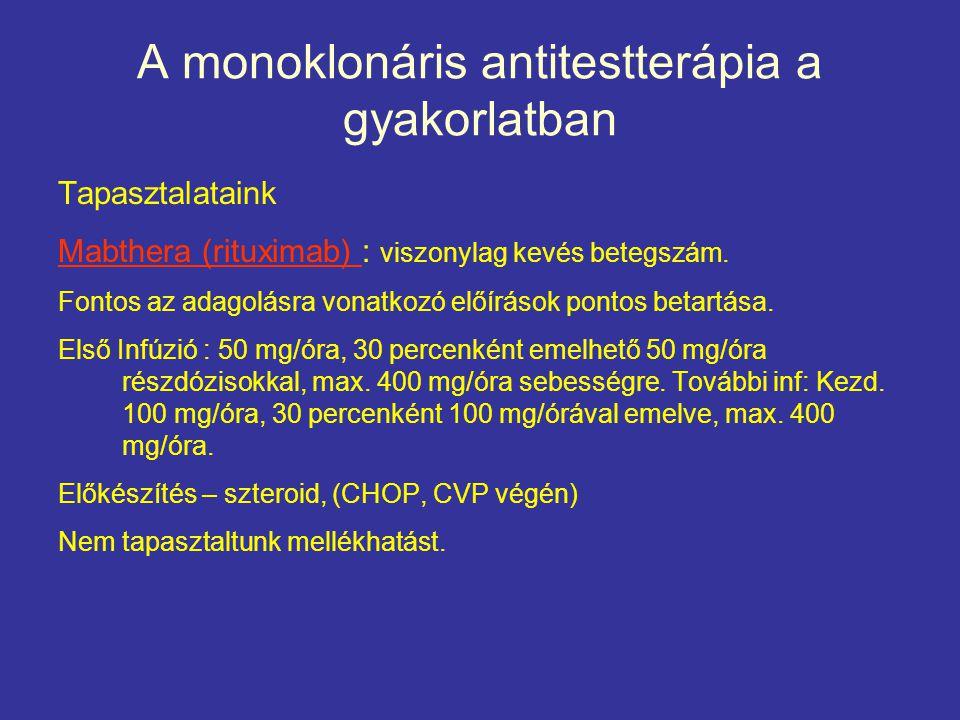 A monoklonáris antitestterápia a gyakorlatban Tapasztalataink Mabthera (rituximab) : viszonylag kevés betegszám. Fontos az adagolásra vonatkozó előírá