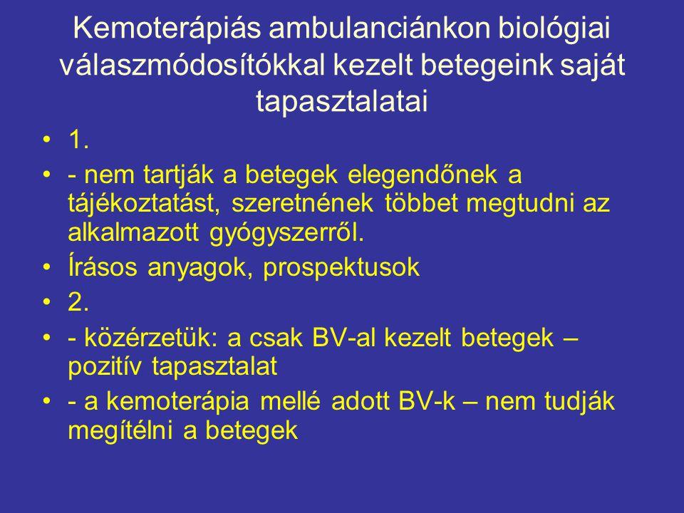 Kemoterápiás ambulanciánkon biológiai válaszmódosítókkal kezelt betegeink saját tapasztalatai •1. •- nem tartják a betegek elegendőnek a tájékoztatást