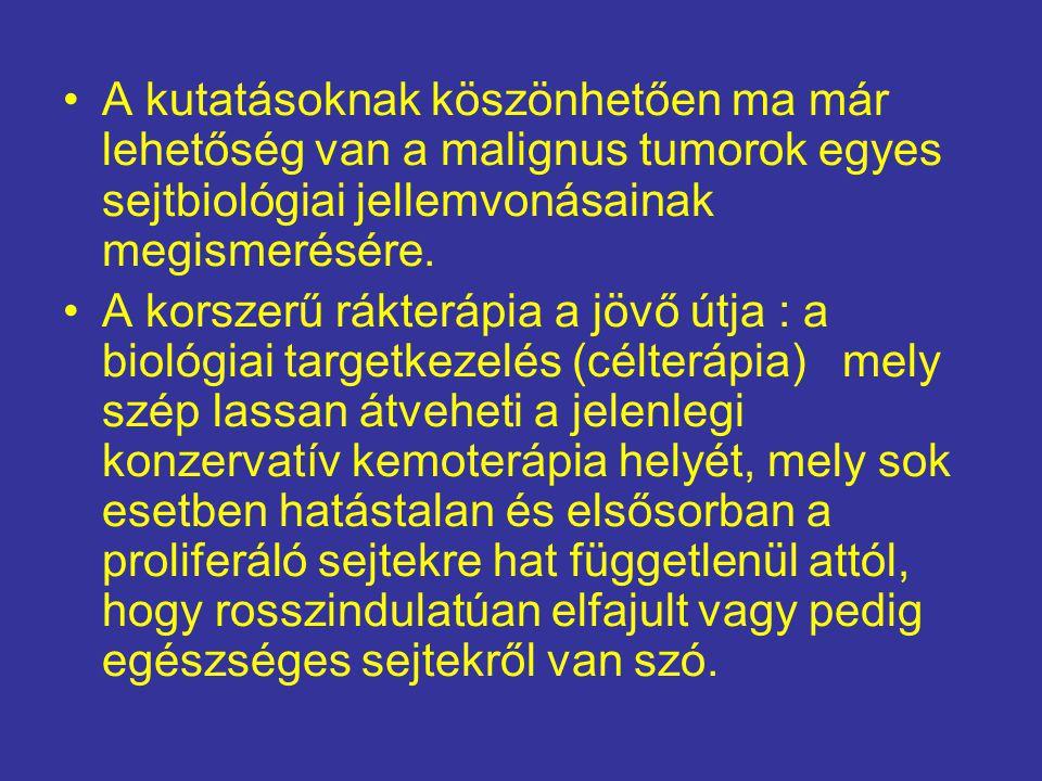 •A kutatásoknak köszönhetően ma már lehetőség van a malignus tumorok egyes sejtbiológiai jellemvonásainak megismerésére. •A korszerű rákterápia a jövő