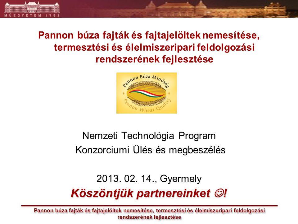 Pannon búza fajták és fajtajelöltek nemesítése, termesztési és élelmiszeripari feldolgozási rendszerének fejlesztése Nemzeti Technológia Program Konzorciumi Ülés és megbeszélés 2013.