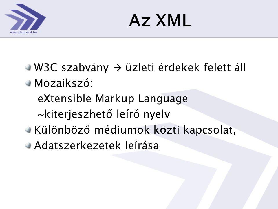 Az XML W3C szabvány  üzleti érdekek felett áll Mozaikszó: eXtensible Markup Language ~kiterjeszhető leíró nyelv Különböző médiumok közti kapcsolat, Adatszerkezetek leírása