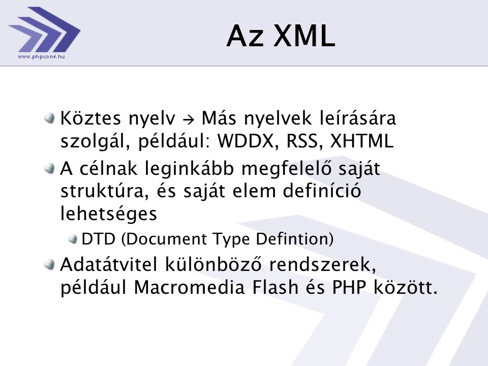 Feldolgozás… Megint forráskód : <?php include 'tracks.php'; $xmlObject = simplexml_load_string( $xmlData ); foreach( $xmlObject->track as $track ) { echo( $track->album ); echo( ' ('.$track->album['type'].') ' ); } ?>