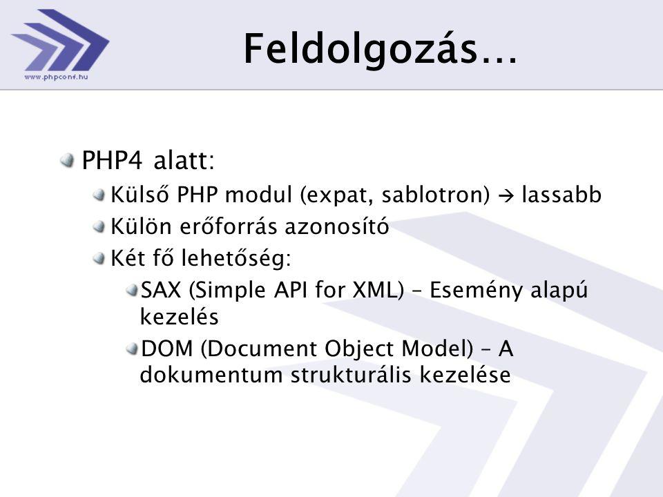 Feldolgozás… PHP4 alatt: Külső PHP modul (expat, sablotron)  lassabb Külön erőforrás azonosító Két fő lehetőség: SAX (Simple API for XML) – Esemény alapú kezelés DOM (Document Object Model) – A dokumentum strukturális kezelése