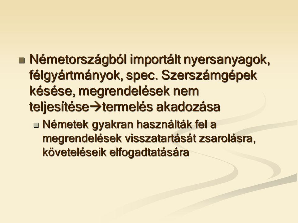  Németországból importált nyersanyagok, félgyártmányok, spec.