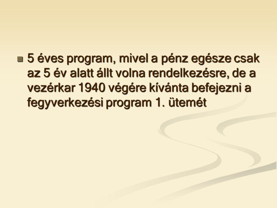  5 éves program, mivel a pénz egésze csak az 5 év alatt állt volna rendelkezésre, de a vezérkar 1940 végére kívánta befejezni a fegyverkezési program 1.