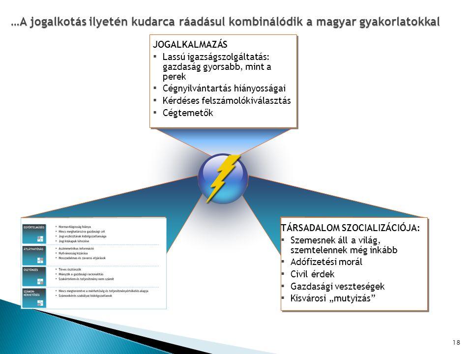 """18 …A jogalkotás ilyetén kudarca ráadásul kombinálódik a magyar gyakorlatokkal TÁRSADALOM SZOCIALIZÁCIÓJA: ▪ Szemesnek áll a világ, szemtelennek még inkább ▪ Adófizetési morál ▪ Civil érdek ▪ Gazdasági veszteségek ▪ Kisvárosi """"mutyizás JOGALKALMAZÁS ▪ Lassú igazságszolgáltatás: gazdaság gyorsabb, mint a perek ▪ Cégnyilvántartás hiányosságai ▪ Kérdéses felszámolókiválasztás ▪ Cégtemetők"""