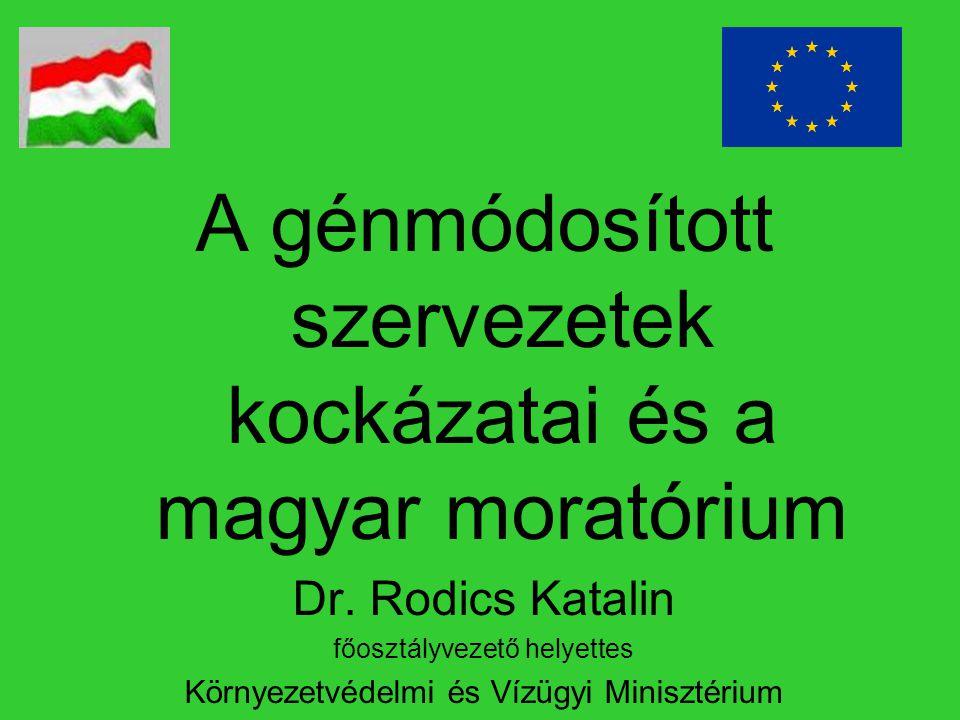 A génmódosított szervezetek kockázatai és a magyar moratórium Dr. Rodics Katalin főosztályvezető helyettes Környezetvédelmi és Vízügyi Minisztérium