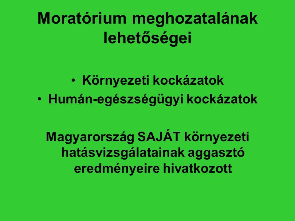 Moratórium meghozatalának lehetőségei •Környezeti kockázatok •Humán-egészségügyi kockázatok Magyarország SAJÁT környezeti hatásvizsgálatainak aggasztó