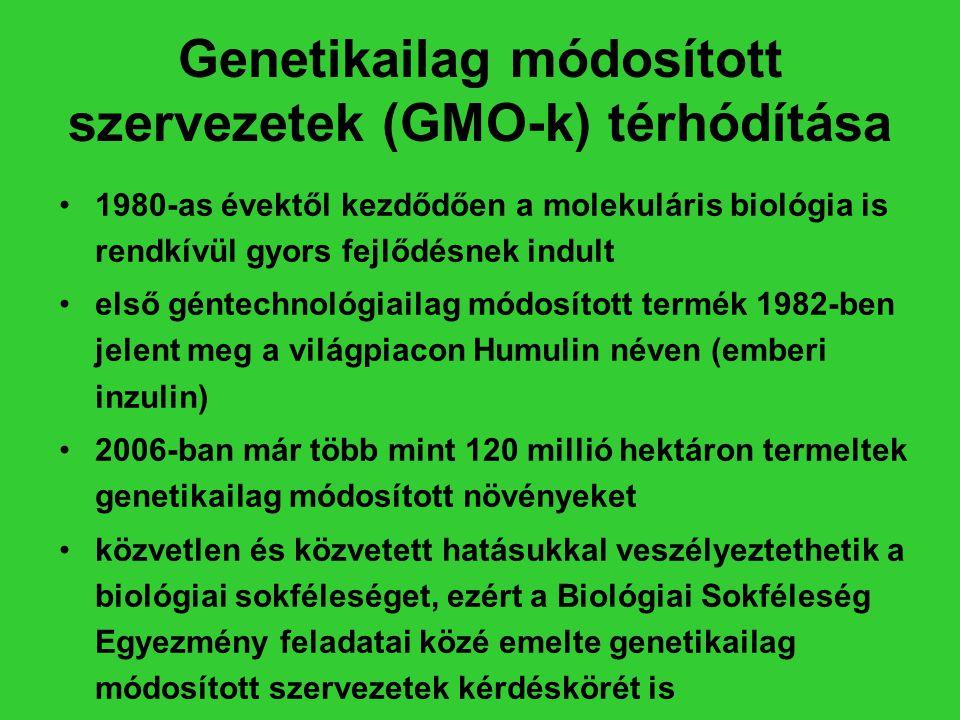 Genetikailag módosított szervezetek (GMO-k) térhódítása •1980-as évektől kezdődően a molekuláris biológia is rendkívül gyors fejlődésnek indult •első
