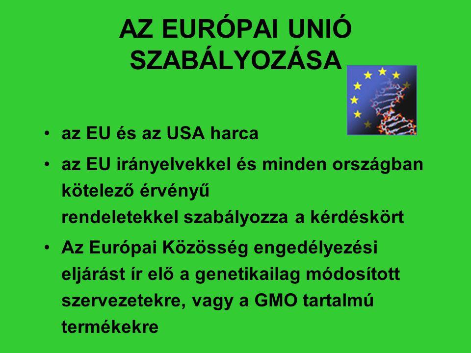 AZ EURÓPAI UNIÓ SZABÁLYOZÁSA •az EU és az USA harca •az EU irányelvekkel és minden országban kötelező érvényű rendeletekkel szabályozza a kérdéskört •